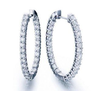 Jewelry - F Round cut 4.80 carats diamonds Hoop earrings whi